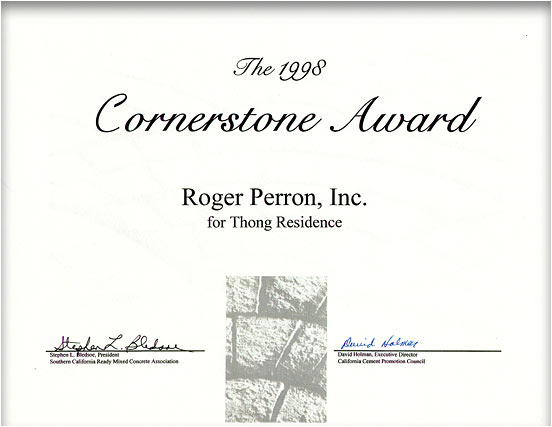A Cornerstone Award we won for this project