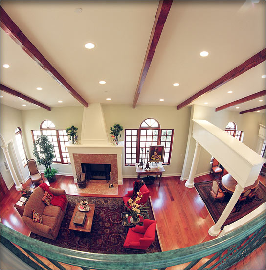 view of the living room from the second-floor landing