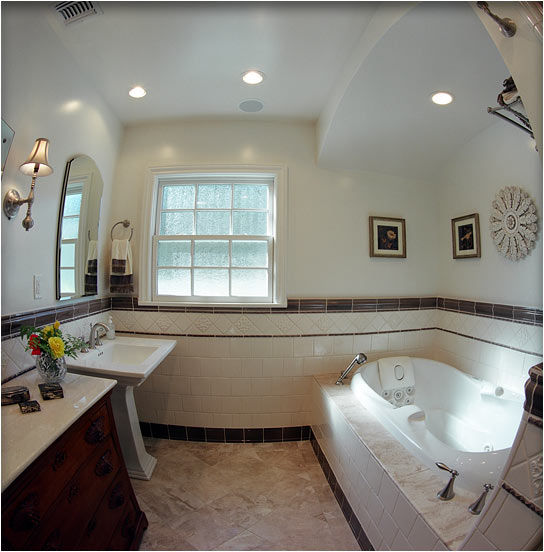master bath with handmade tile